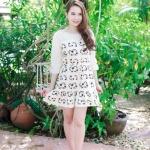 เสื้อผ้าแฟชั่น สุด Chic ชุดเดรสเกาหลี จั๊มแขน รหัส RN46_1 สีครีม
