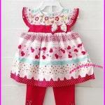 ชุดเสื้อแขนระบายลายดอกไม้ หัวใจ พร้อมกางเกงสีแดง ไซส์ 24 เดือน