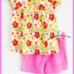 ชุดเสื้อลายดอกสีสดใส แขนตุ๊กตา พร้อมกางเกงขาสั้นสีชมพู ไซส์ 2, 3, 5 ขวบ