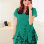 เสื้อยืดแฟชั่นตัวยาว (ผ้าเนื้อนุ่ม) ลาย จิงโจ้ สีเขียว