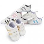 รองเท้าเด็กหัดเดินผ้าใบ ลายแถบสีด้านข้าง มีพื้นกันลื่น รหัส MKS003