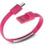 สายชาร์จ แบบสายรัดข้อมือ Micro USBสีชมพู