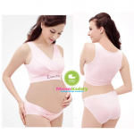 เสื้อชั้นในคนท้องเปิดให้นมผ้ายืด ไม่มีโครง แนวสปอร์ตบรา สีเนื้อ Enjoy Preg - 25082