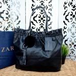 ZARA REVERSIBLE ZEBRA PRINT AND LEATHER SHOPPER BAG
