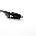 สายชาร์จ remax Fast Speed Data Line 2หัว สำหรับ Android & iPhone สายแบน สีดำ