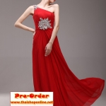 Pre-Order ชุดราตรียาว ชุดราตรีสีแดง แขนกุด ผ้าซีฟองอย่างดี ตกแต่งด้วยลูกปัดเพชร เหมาะใส่เป็นชุดออกงาน ชุดไปงานแต่งงานมากๆ
