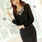เสื้อทำงาน แขนยาว แฟชั่นเกาหลี ผ้าชีฟอง ปักดิ้นที่คอ สีดำ ใส่สบายสวยมากๆ (พร้อมส่ง)