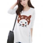 เสื้อยืดแฟชั่นแขนยาว ปลายหยัก ผ้า Cotton Combed เนื้อนุ่ม ลาย Meow Meow สีขาว