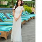 ชุดเดรสยาวสุดหรู แฟชั่นเกาหลีมาใหม่ ผ้าชีฟอง สีขาว อัดพลีตเล็กๆ ทั้งตัว
