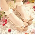 ถุงเท้าลูกไม้ เนื้อซีทรู ลายจุดแสนหวาน สีขาว