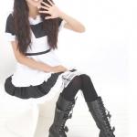 ถุงเท้าญี่ปุ่น ถุงเท้าความยาวเหนือเข่าสีดำขอบลูกไม้ขาว ถุงเท้าเมด