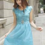 ชุดเดรสเกาหลี Brand Hong fen jia ren เดรสสุดหรูสีฟ้า ตัวเสื้อผ้าลายดอกไม้ ซับในผ้าไหม แขนเสื้อและกระโปรง ผ้าไหมแก้ว ใส่ออกงานสวยมากๆครับ (พร้อมส่ง)