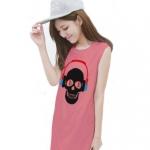 เสื้อยืดแฟชั่นตัวยาว / แซกสั้น แขนกุด ผ้านุ่ม ลาย Skull I (สีโอรส)