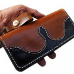 กระเป๋าสตางค์ยาว 2 พับ สีน้ำตาลดำเย็บต่อ