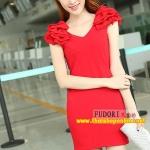 Pre-Order ชุดราตรีสั้น ชุดเดรสสั้น Brand Fu daiyi คอวี สีแดง-สีดำ แขนกุด ผ้าโพลีเอสเตอร์ ยืดหยุ่นดี ไม่ยับง่ายไม่ต้องรีด สวยมากๆ สินค้าเกรด A