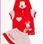 ชุดเสื้อลาย Minnie Mouse สีแดง มีฮู้ด พร้อมกระโปรงกางเกง ไซส์ L(6-7 ขวบ)