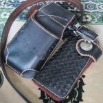 ซองหนังใส่กระเป๋าหนังแท้ + กระเป๋า ซองสีดำเงา