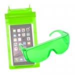 ซองกันน้ำ 3 ล็อค คุ่กับ แว่นตากันน้ำ สุดเก๋ สีเขียวอ่อน ราคา 75