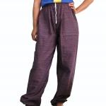 กางเกงจินนี่ ผ้าไฝ้มีลายในตัว มียางยืดและมีเชือกผูก ส่วมใส่สบาย ขนาด FREE SIZE