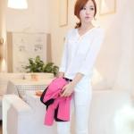 เสื้อแฟชั่น เสื้อเกาหลี เสื้อทำงาน คอวี ประดับกระดุมด้านหน้า3เม็ด กระเป๋าหน้า ผ้าชีฟอง เสื้อสีขาว สวยมากๆ (พร้อมส่ง)
