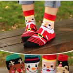 ถุงเท้าน่ารักลายลุงแซนต้า-ขอบแดง