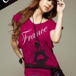 เสื้อยืดแฟชั่น แขนปีกนก ลาย France Eiffel สีชมพูบานเย็น
