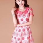 ชุดเดรสเกาหลี Brand Ztyl ชุดเดรสผ้าแก้วสีขาว ปักด้ายด้ายสีชมพูเข้มเป็นลายดอกไม้ คอเสื้อและปลายแขนเสื้อ สีชมพูเข้ม ใส่ออกงานสวยมากๆครับ (พร้อมส่ง)