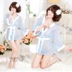 ชุดนอนเซ็กซี่/ซีทรู ชุดคลุมสีฟ้าสไตส์สาวน้อยญี่ปุ่น +กางเกงใน