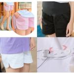 กางเกงขาสั้นคนท้องแบบเรียบสีพื้น มีสายปรับที่เอว - SP1701