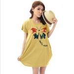 เสื้อยืดแฟชั่นตัวยาว /แซกสั้น ทรงสวย ผ้านุ่ม ลาย Butterfly Smile สีเหลือง