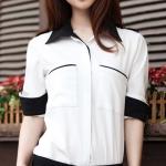 เสื้อทำงาน เสื้อแฟชั่น เสื้อเกาหลี เสื้อแขนยาว คอปก กระดุมหน้า กระเป๋าหน้า เสื้อสีขาว สวยมากๆ (พร้อมส่ง)