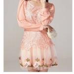 ชุดเดรสออกงานเกาหลี Brand Jinjiali ชุดเดรสลูกไม้ ชนิดหนาสีชมพูโอรส ลายดอกไม้ ตัวกระโปรงผ้ามุ้งปักลายดอกไม้ แขนยาว สวยมากๆครับ (พร้อมส่ง)