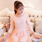 ชุดเดรส Prinstory ชุดเดรสเจ้าหญิง แฟชั่นเกาหลี ผ้าลูกไม้ชนิดยืดหยุ่นได้ดี สีชมพูโอรส แขนยาวสี่ส่วน สวยมากๆ ครับ(พร้อมส่ง)