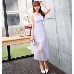 ชุดเดรสชีฟอง สีม่วงอ่อน แขนกุด แฟชั่นเกาหลีมาใหม่ สวยมากๆ