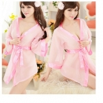 ชุดนอนเซ็กซี่/ซีทรู ชุดคลุมสีชมพูสไตส์สาวน้อยญี่ปุ่น +กางเกงใน