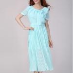 (เสื้อผ้าแฟชั่น นำเข้า พร้อมส่ง) ชุดเดรสยาว เกาหลี (Maxi Dress) ไซส์ใหญ่ แขนสั้น สีฟ้าอมเขียว (Size XL) งานคุณภาพ