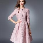ชุดเดรสสวยๆ ผ้า poplin (ผ้าคล้ายผ้าไหม แต่มีลายในตัว) สีชมพูกะปิ