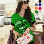 เสื้อยืดเกาหลี คอวี แขนเบิ้ล ลาย France Paris 2 สีเขียว (Size M : 36 นิ้ว)