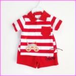 ชุดเสื้อคอปก ลายริ้วแดงขาว ปักรถจักรยาน พร้อมกางเกง ไซส์ 3-6, 9-12 เดือน