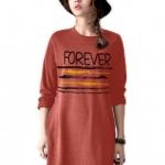 เสื้อยืดตัวยาว /แซกสั้น ผ้านุ่ม แขนยาว ลาย Forever (สีส้ม)