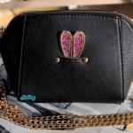 พร้อมส่ง KB-628-2 สีดำ กระเป๋าสะพายไซร์มินิน่ารักสายสะพายโซ่แต่งอะไหล่ Glitter-rabbit หนังช้าง เนื้อสวยมาก