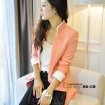 เสื้อสูทเกาหลี Rui Ri เสื้อสูทผ้าคอตตอนผสม เนื้อดีสีชมพู ปกเสื้อ และปลายแขนเสื้อเย็บผสมกับผ้าสีขาว พร้อมส่ง
