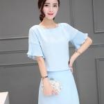 แฟชั่นเกาหลีสวยๆ set เสื้อและกระโปรงสวยๆ สีฟ้า สวยเก๋ครับ