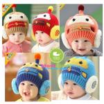 หมวกเด็กไหมพรมลายรถ