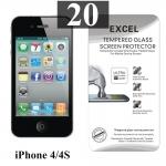 ฟิล์มกระจก iPhone 4/4s Excel แผ่นละ 18 บาท (แพ็ค 20)