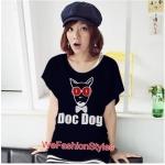 เสื้อยืดแฟชั่น ผ้านุ่ม ลาย Doc Dog (Size M:36 นิ้ว) สีดำ