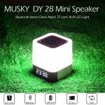 ลำโพงบลูทูธ Musky DY28 มาพร้อมไฟ LED และนาฬิการแบบดิจิตอล สีขาว