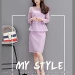 เสื้อผ้าแฟชั่น set เสื้อ และกระโปรงสีม่วงพาสเทลสวยหวาน