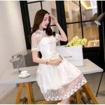 ชุดเดรสไปงาน ผ้ามุ้ง แฟชั่นเกาหลี ปักลายดอกไม้ สีขาว