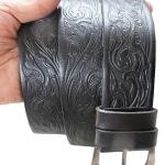 เข็มขัดหนังวัวแท้ 100 % สายเข็มขัดมีลายในตัวสวยมาก หัวเข็มขัดเป็นนิกเกิล